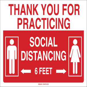 "Brady® 10"" X 14"" Red And White 0.0591"" Rigid Polystyrene Practice Social Distancing Sign ""THANK YOU FOR PRACTICING  SOCIAL DISTANCING {With Pictogram}"""