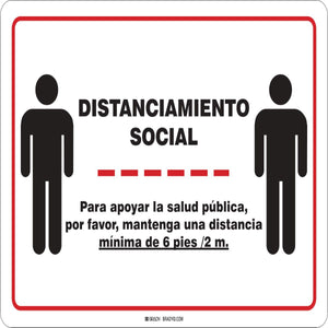 "Brady® 10"" X 14"" Red on Black And White 0.035"" Rigid Aluminum Spanish Social Distance 6Ft Sign ""DISTANCIAMIENTO SOCIAL {With Pictogram}"""