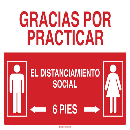 Brady® Red And White Spanish Practice Social Distance Sign
