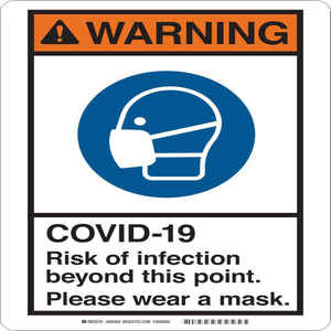 "Brady® 7"" X 10"" Black And Blue on White Risk Mask Sign ""COVID-19 RISK OF INFECTION WEAR MASK {With Pictogram}"""