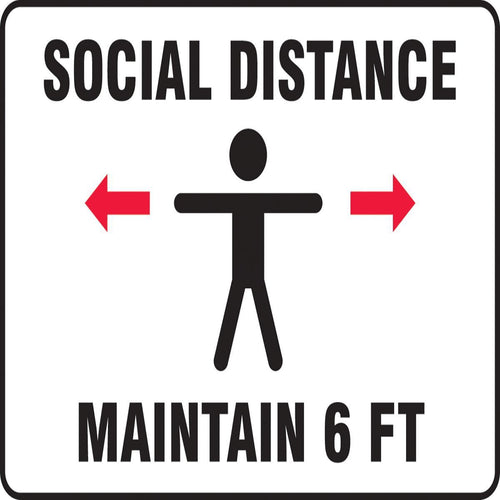 Accuform® Red, Black and White COVID/Social Distancing Sign