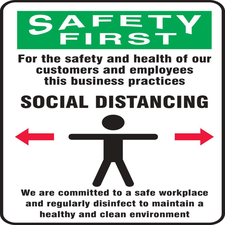 Accuform® Red, Green, Black and White COVID/Social Distancing Sign