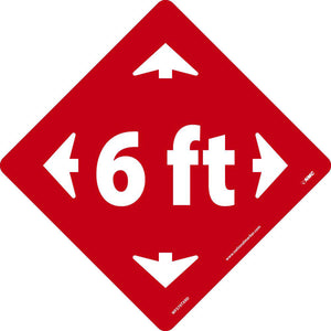 "NMC™ 12"" X 12"" Red/White COVID Social Distancing Floor Sign ""6 ft (With Directional Arrow Pictogram)"""
