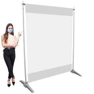 Clear Vinyl Safety Barrier - Floor Standing Aluminum Sneeze Guard Divider - Various Size