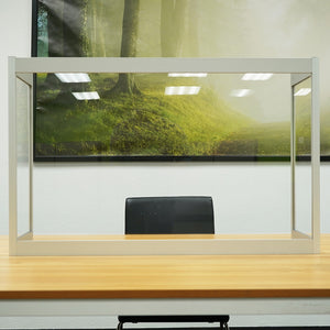 "Desk Sneeze Guard - 48"" W X 24"" H with 12"" Side Panel - Aluminum Frame and Acrylic Desk Shield"