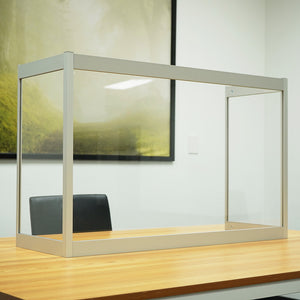 "Desk Sneeze Guard - 36"" W X 24"" H with 12"" Side Panel - Aluminum Frame and Acrylic Desk Shield"