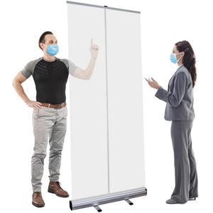 "Floor Standing Sneeze Guard - 33.5"" W X 80"" H - Freestanding Roll Up Clear Shield"