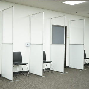 "Freestanding Sneeze Guard Wall- 36"" W X 92""H - PVC Divider - White"