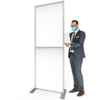 "Load image into Gallery viewer, Freestanding Sneeze Guard Wall- 36"" W X 92""H - PVC Divider - White"
