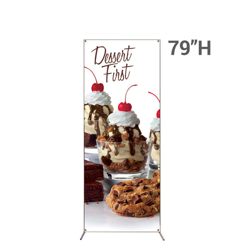 Grasshopper Adjustable Banner Stand Small With 32 In. X 79 In. Graphic Package