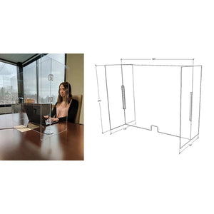"NMC™ 30"" X 14"" X 24"" Clear Acrylic Portable Desktop Partition"