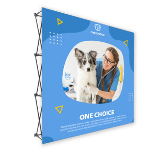 "8 Ft. Fabric Pop Up Display - 89""H ONE CHOICE Straight Trade Show Exhibit Booth"