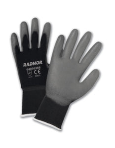 RADNOR® 15 Gauge Polyurethane Palm And Finger Coated Work Gloves With Nylon Liner And Knit Wrist