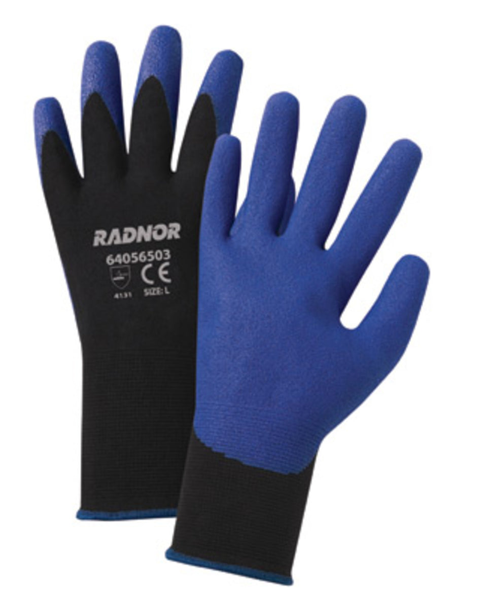 RADNOR® 15 Gauge Blue PVC Palm And Finger Coated Work Gloves With Black Nylon Knit Liner And Knit Wrist