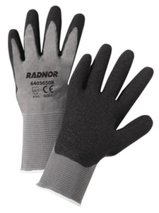 RADNOR® 13 Gauge Black Latex Palm And Finger Coated Work Gloves With Gray Seamless Knit Liner And Knit Wrist