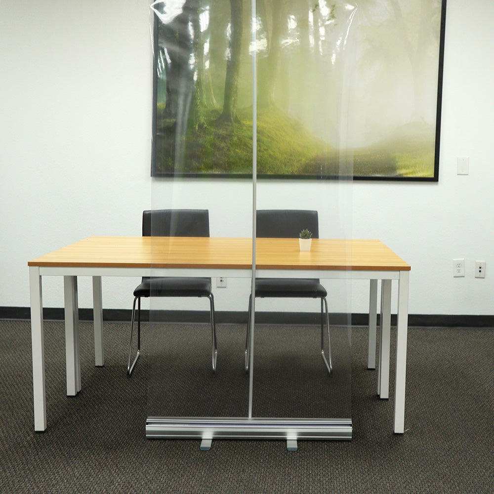 YF-1 Desk Divider Partition Screens,Floor Standing Sneeze Guard-with Roll Up Stand Free Standing Retractable Clear PVC Film Protective Shield Protective Screen