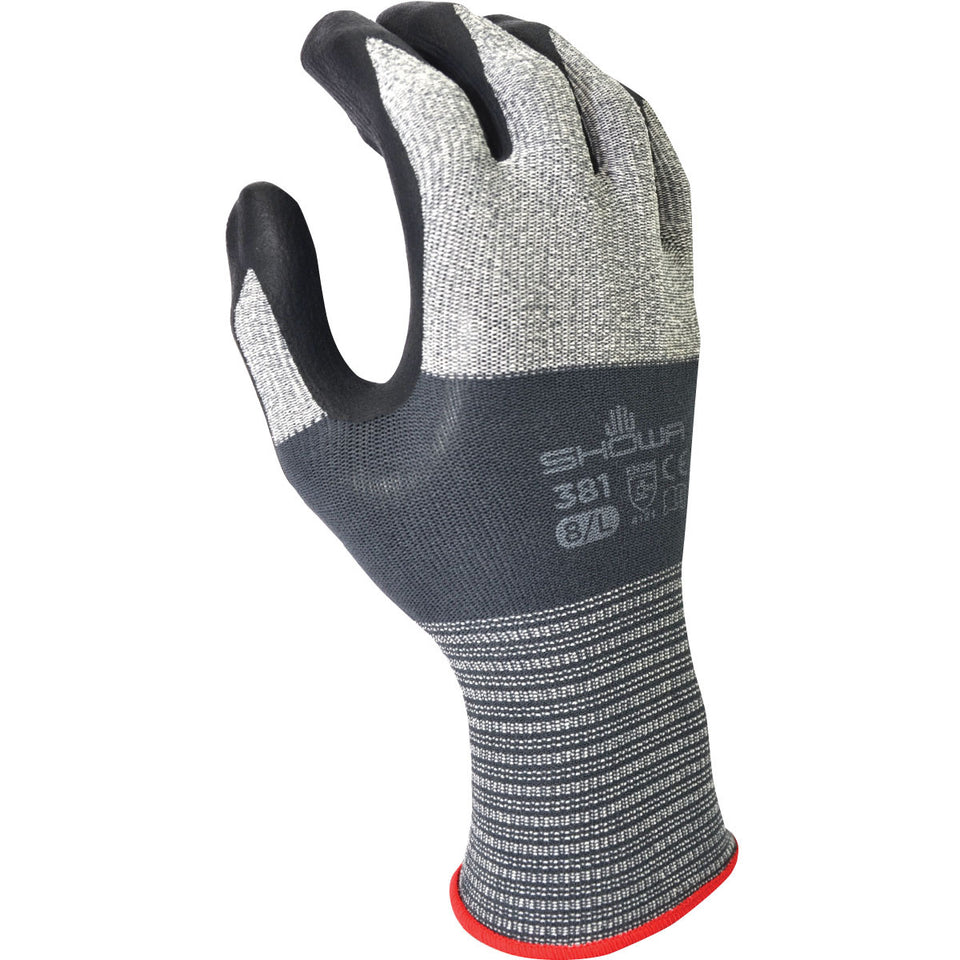 SHOWA® 13 Gauge Foam Nitrile Palm Coated Work Gloves With Microfiber And Nylon Liner And Knit Wrist
