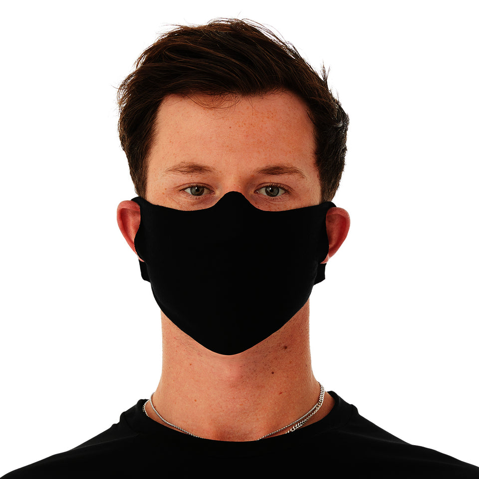 BELLA+CANVAS One Size Fits Most Black 4.2 Ounce Lightweight Poly/Cotton Jersey Face Mask With Two Ear Holes To Adjust Fit (10 Each Per Package) (Not intended for medical use or to replace N95 or other NIOSH-approved respirators.)