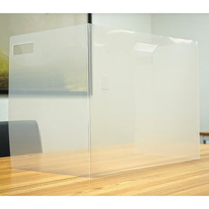 "Semi-Transparent Trifold Sneeze Guard - 22"" W X 18"" H Portable Desk Shield With 13.5"" W Side Panels"