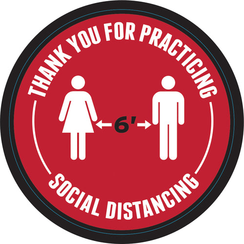 Floor Decal - 6' Apart Social Distancing - Slip-Resistant Floor Sign