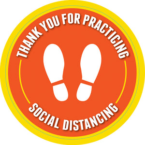 "Floor Decal - 6' Apart Social Distancing - 12"" Diameter Slip-Resistant Floor Sign"