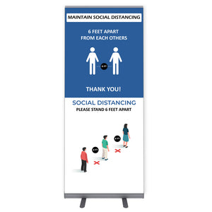 "Maintain Social Distance Sign  - 33.5"" W x 80"" H - Freestanding and Portable Roll Up Public Safety Sign"
