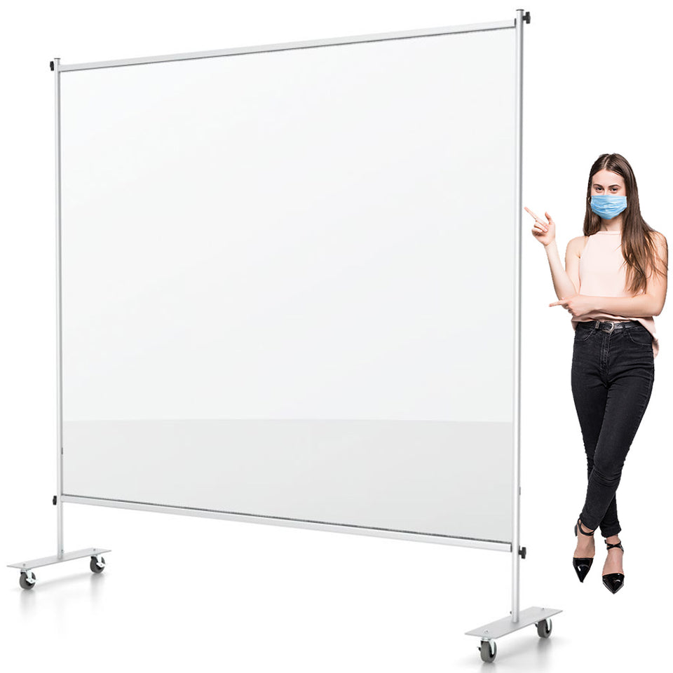 Clear Room Partition - 6 Ft W x 6 Ft H - Floor Standing Vinyl Sneeze Guard With Caster Wheels