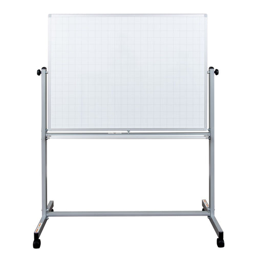 "48"" x 36"" Mobile Magnetic Double-Sided Ghost Grid Whiteboard"
