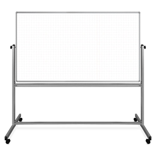 "72"" x 40"" Mobile Magnetic Double-Sided Ghost Grid Whiteboard"