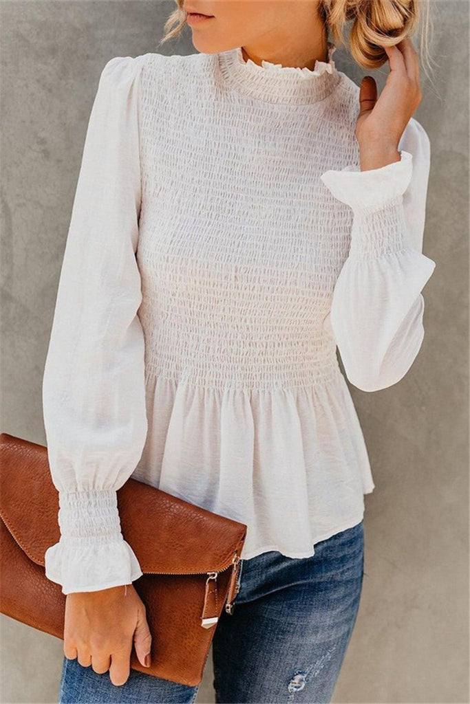 Berrymoda High-neck Flared Sleeves Blouse Shirt