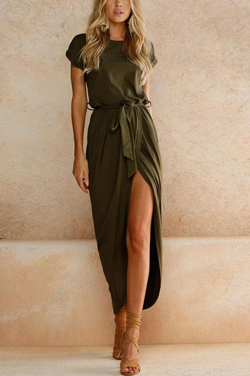 Berrymoda Front Slit Irregular Slim Dress