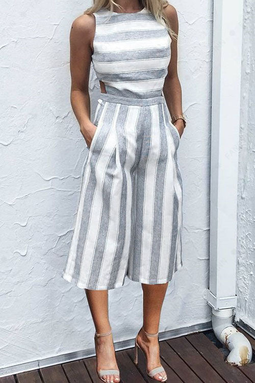 Berrymoda Round Neck Striped Jumpsuit