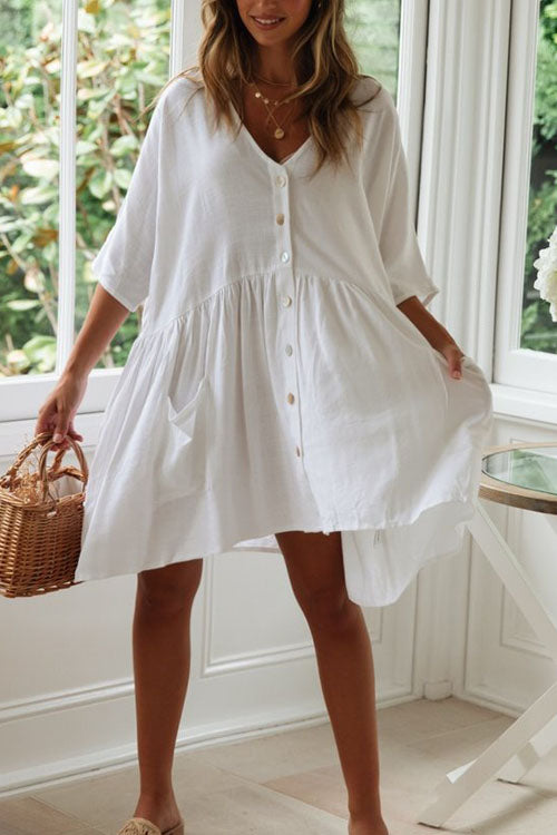 Berrymoda Snow Loose Button Down Dress