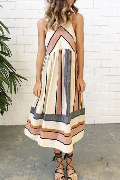 Berrymoda Printed Big Striped Maxi Dress
