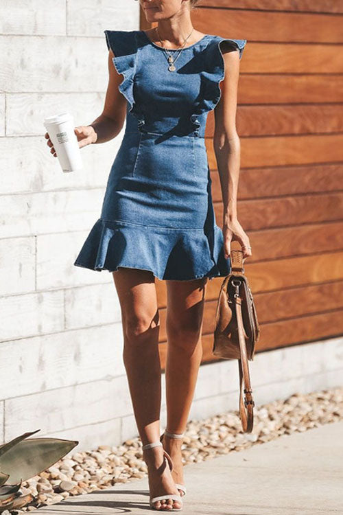 Berrymoda Falbala Bodycon Denim Dress