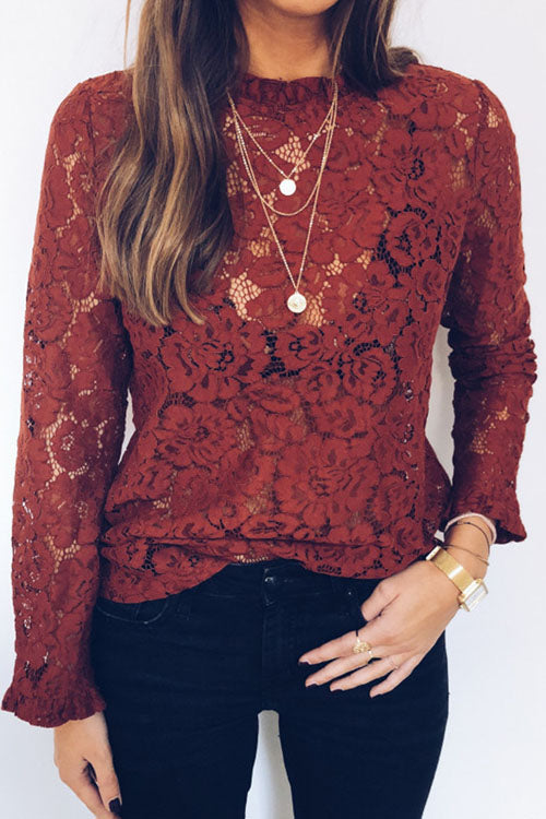 Berrymoda Alice Retro Lace See Through Blouse
