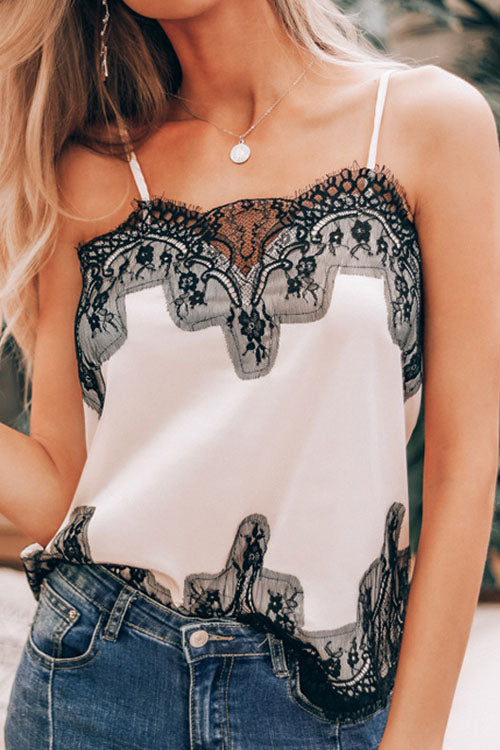 Berrymoda Eyelash Lace Satin Camisole Top