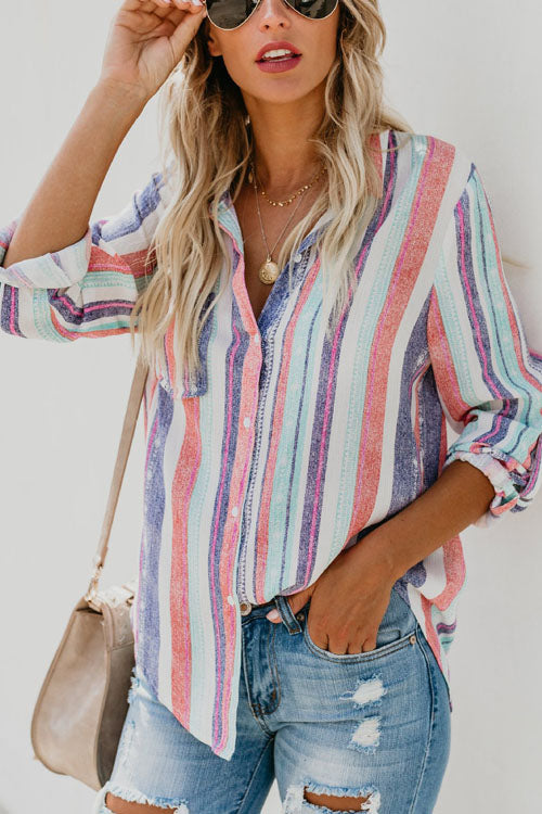 Berrymoda Flax Fashion Striped Shirt