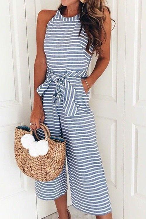 Berrymoda Striped Bow-Knot Wide Leg Jumpsuit