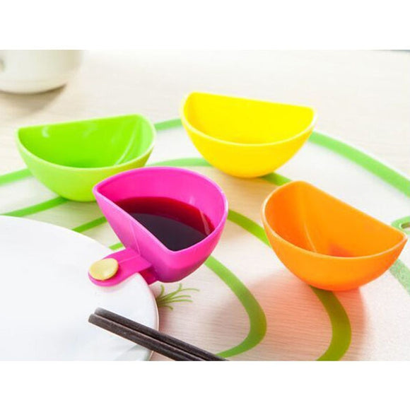 4Pcs/lot Assorted Salad Sauce Ketchup Jam Dip Clip Cup Bowl Saucer Tableware Box for Tomato Sauce Sugar Kitchen Gadgets