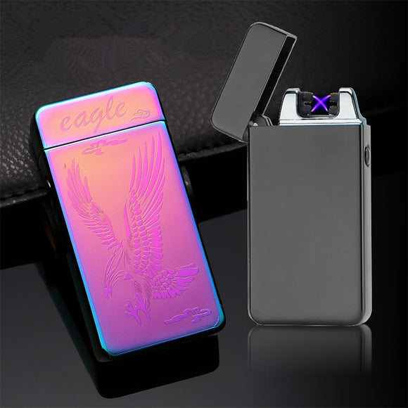 Dual Arc USB Electronic Lighter Windproof Flameless Portable Plasma Arc Lighter Rechargeable Cigarette Lighter Gadgets For Men
