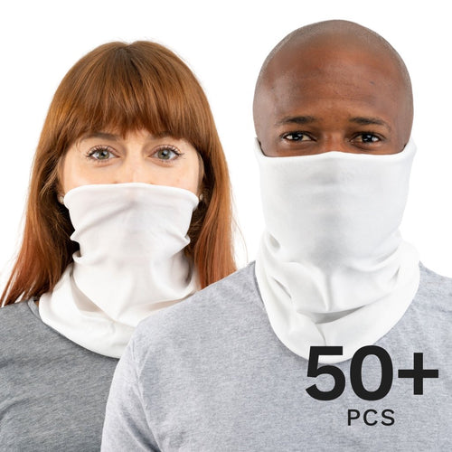 50-10000 Pcs White USA Face Defender Neck Gaiters Wholesale Bulk Lots Masks by Design Express