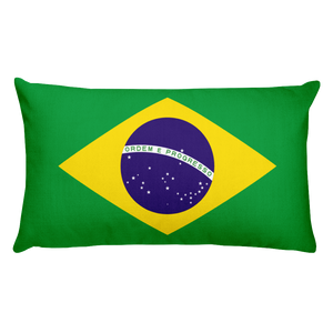 Brazil Flag Allover Print Rectangular Pillow