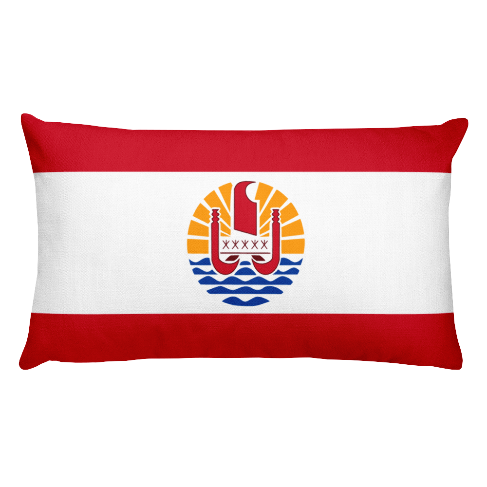 French Polynesia Flag Allover Print Rectangular Pillow