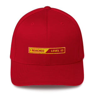 Red / S/M I Reached Level 13 Loading Structured Twill Cap by Design Express