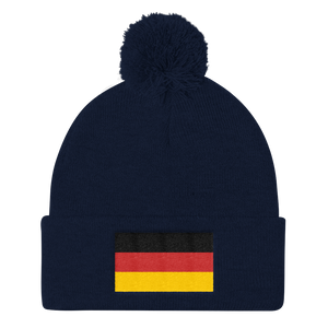 Navy Germany Flag Pom Pom Knit Cap by Design Express