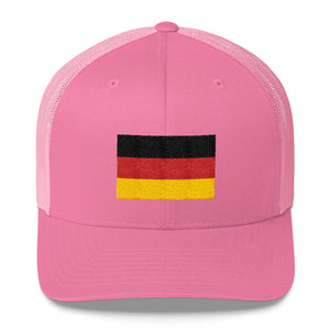 Pink Germany Flag Embroidered Trucker Cap by Design Express