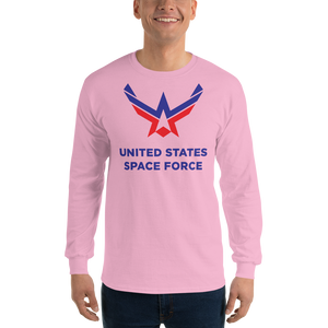 Light Pink / S United States Space Force Long Sleeve T-Shirt by Design Express