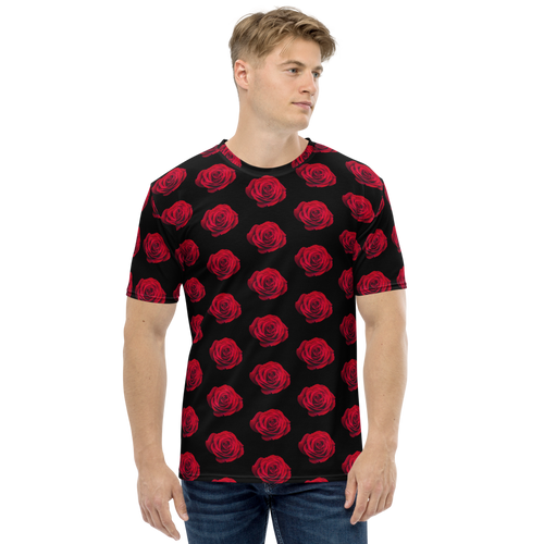 XS Charming Red Rose Small Pattern Men's T-shirt by Design Express