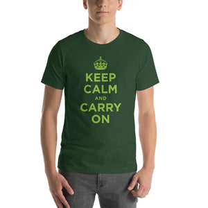 Forest / S Keep Calm and Carry On (Green) Short-Sleeve Unisex T-Shirt by Design Express